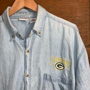 Vintage Green Bay Packers denim/ chambray shirt